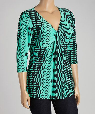 Take a look at this Mint & Black Geo Three-Quarter Sleeve Top - Plus on zulily today!