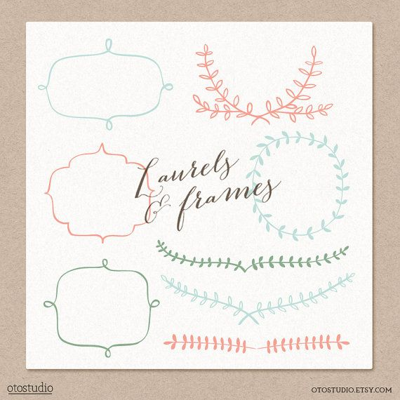 Laurel and Frames Digital cliparts for branding and by OtoStudio