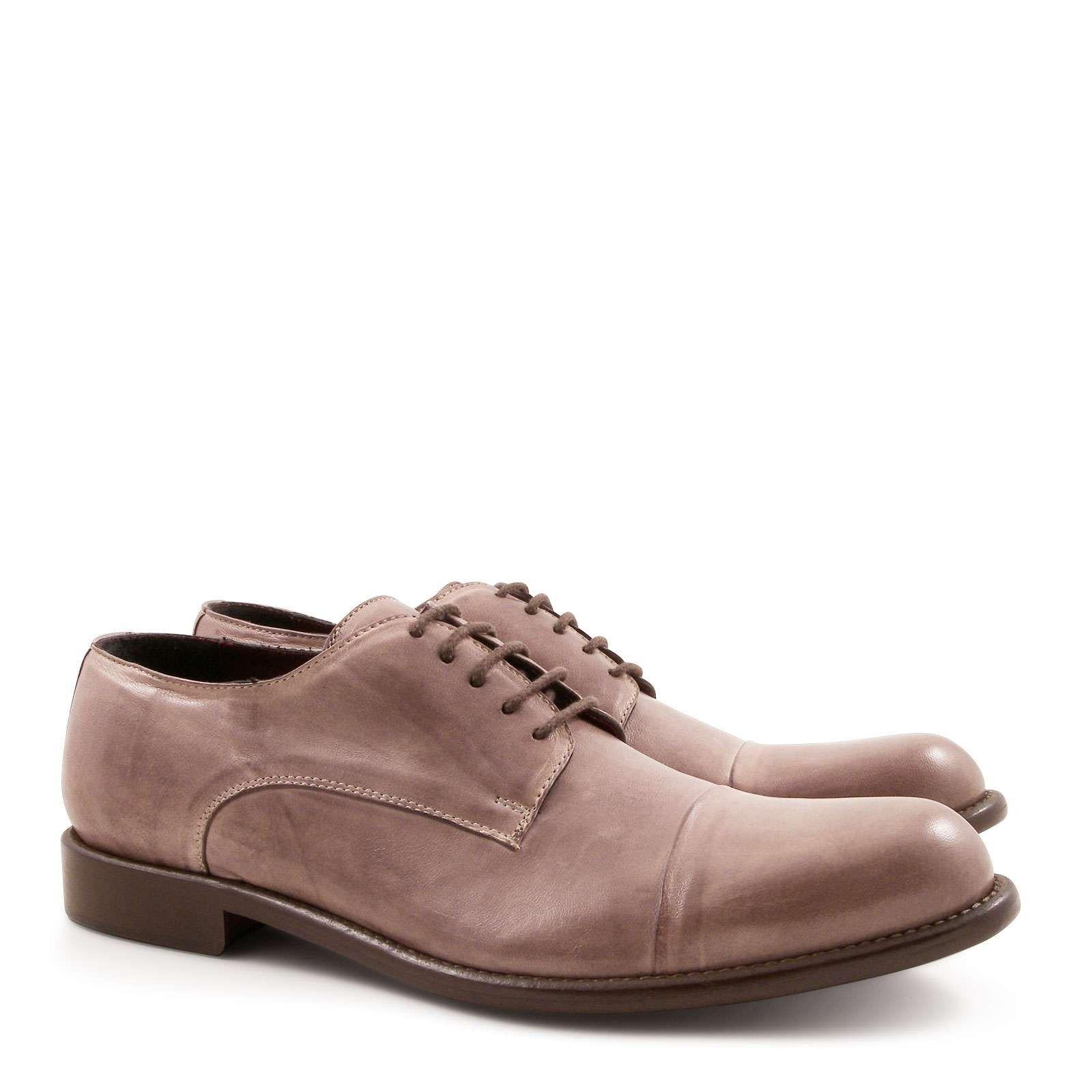 Handmade men's leather derby plain cup toe shoes - Italian Boutique €304