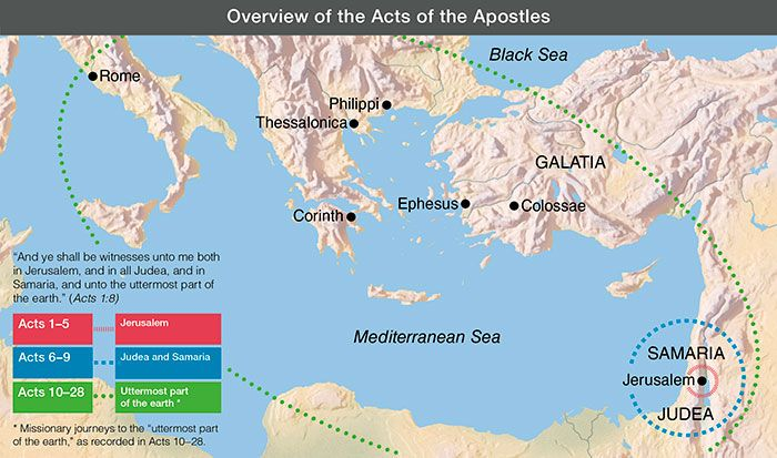 map, Overview of the Acts of the Apostles | Acts of the ... on