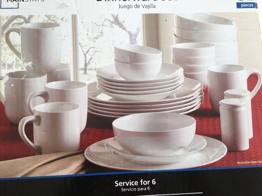 32Piece Dinnerware Set White Service for 6 Top Quality