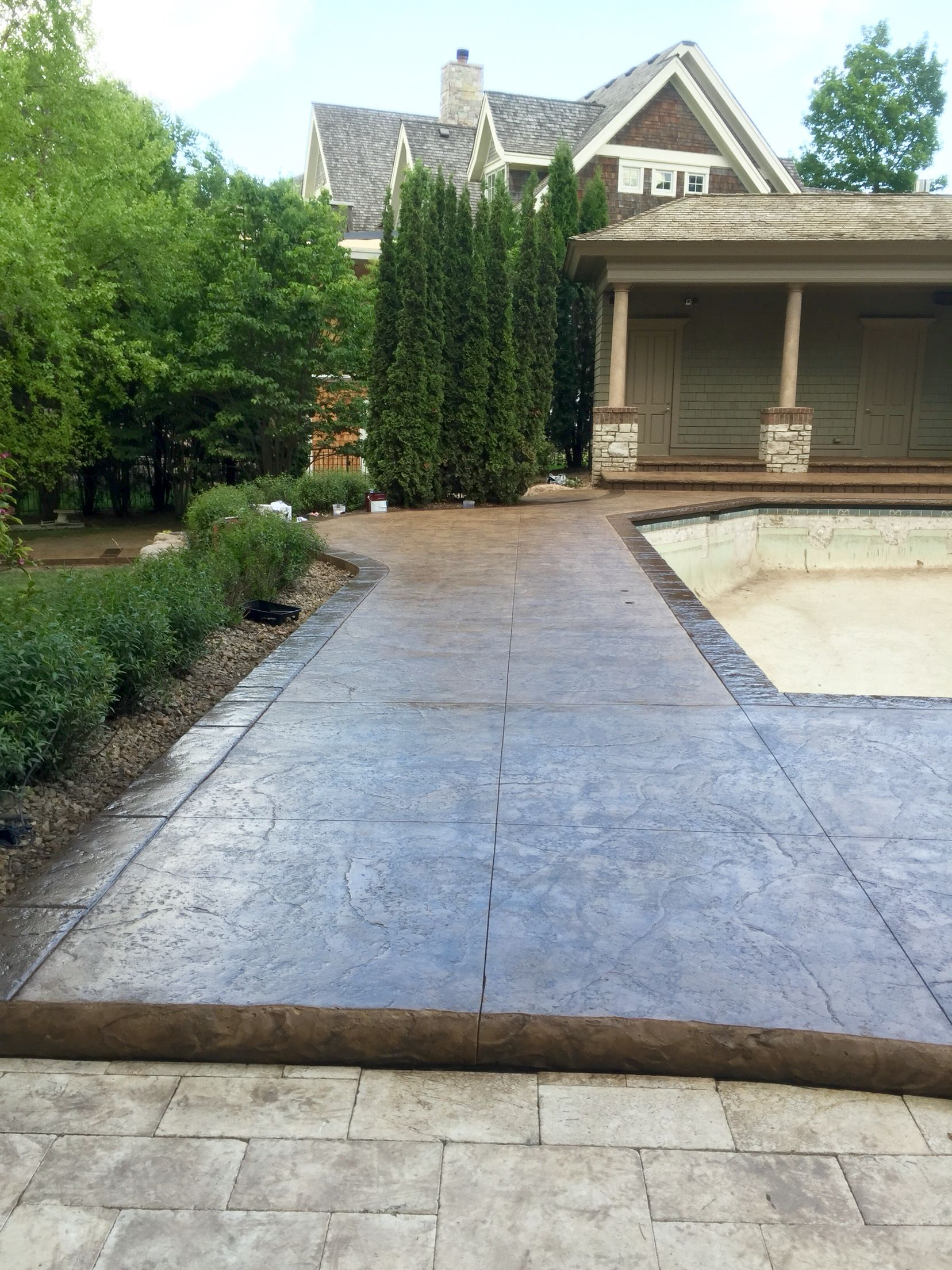 Stamped Concrete Pool Deck With Custom Chiseled Stone Cantilevered Coping By Sierra Arts