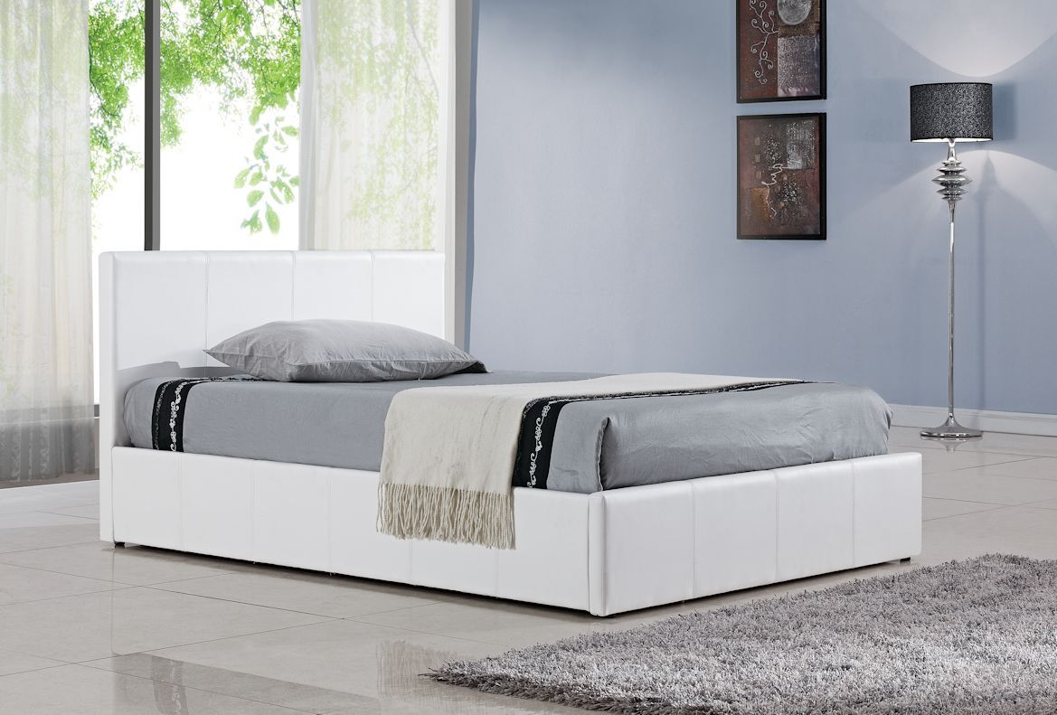 5ft White Faux Leather Ottoman Gas Lift Up Bed Frame Ottoman Bed
