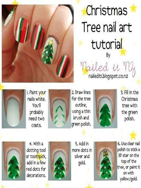 2013 Christmas Tree Nails Design Tutorial Dark Green Christmas Tree Nails For 2013 Christmas Christmas Tree Christmas Tree Nails Tree Nail Art Xmas Nail Art