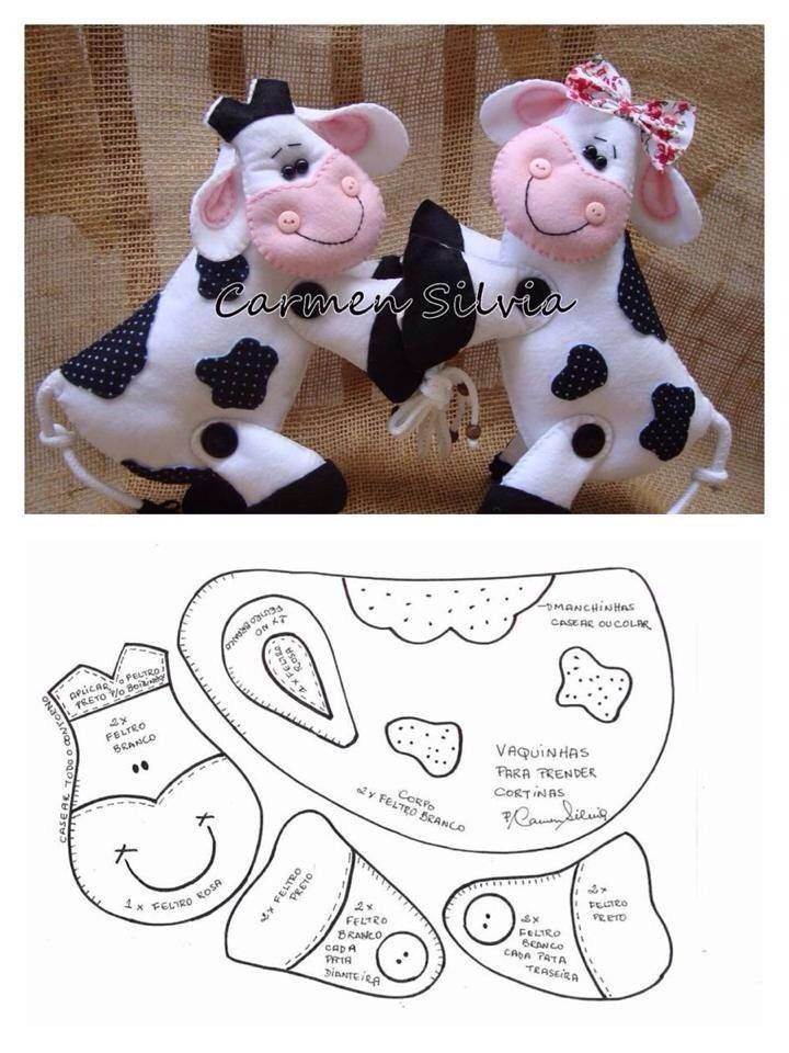 felt black and white cow with pattern. Vaquitas | Craft ideas ...
