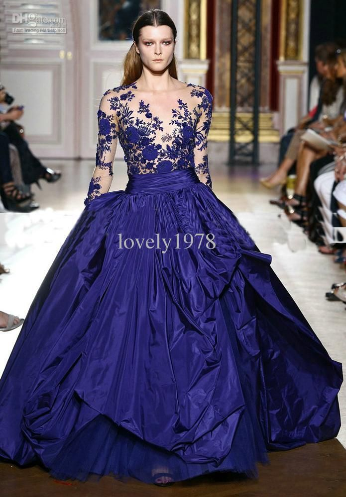 Wholesale 2014 New Arrival Zuhair Murad Royal Blue Long Sleeve Applique Sheer Formal Evening Wedding Gowns