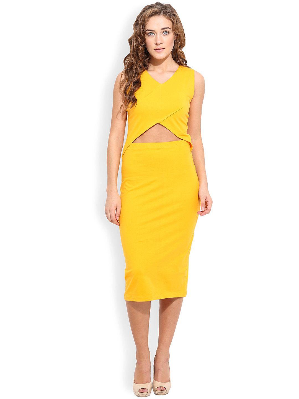 b40c09e87d8a THE SILHOUETTE STORE Women Yellow Bodycon Dress  Yellow  Solid  CutOut   Sleeveless