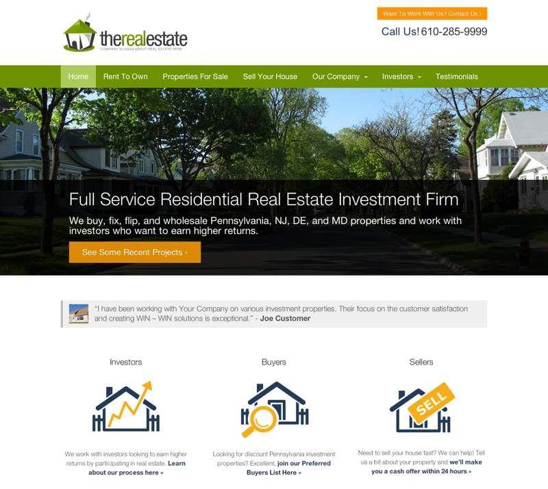 InvestorCarrot Real Estate Investor Websites Templates Inbound - Real estate wholesale website templates