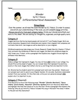 Wonder by R J  Palacio Differentiated Novel Assessment | Third grade