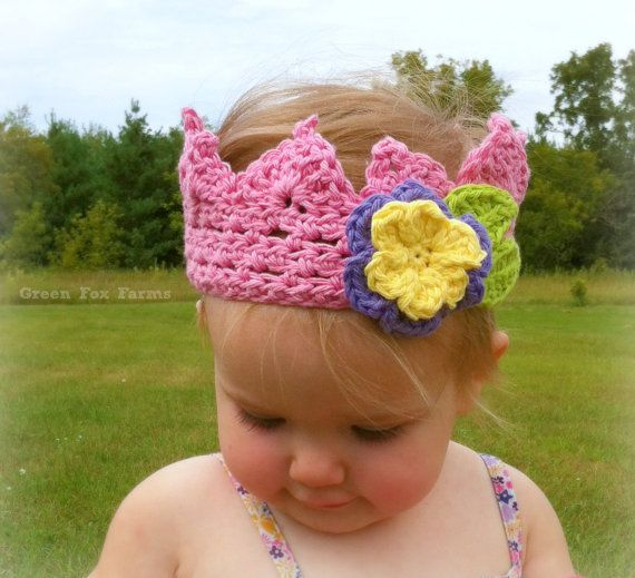 CUSTOM Boutique Baby Crochet Crown with Flower by GreenFoxFarms