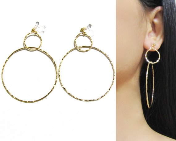 Shiny Gold Hammered Hoop Clip On Earrings B4 Non Pierced Intertwined Circle Geometric Dangl