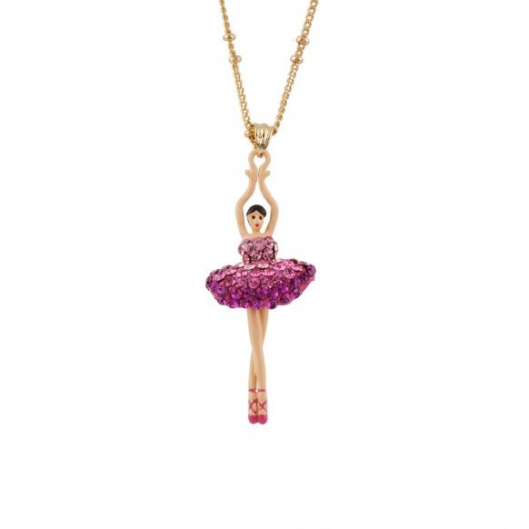 Ballerina paved with raspberry crystals necklace