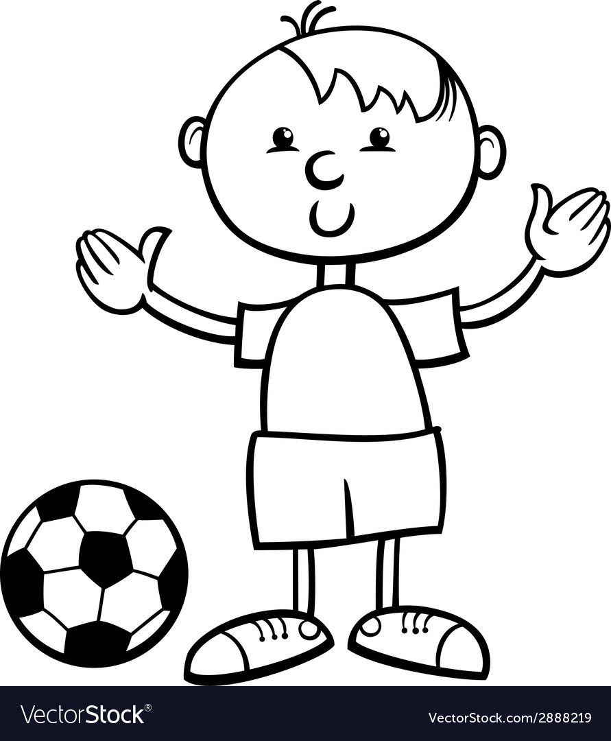 Boy With Ball Cartoon Coloring Page Vector Image On Vectorstock Cartoon Coloring Pages Coloring Pages Black And White Cartoon