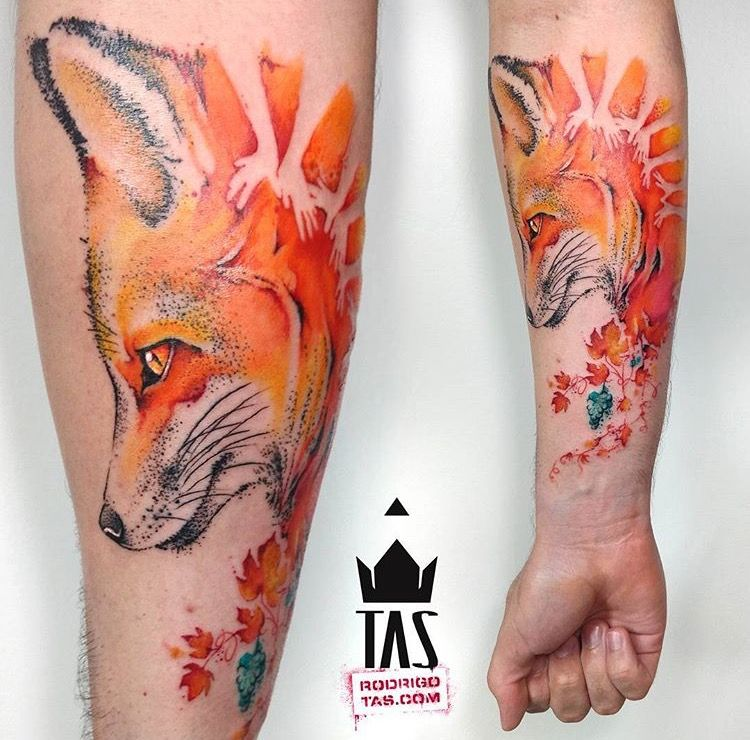 Rodrigo Tas Watercolor Fox Tattoo Fox Tattoo Red Fox Tattoos