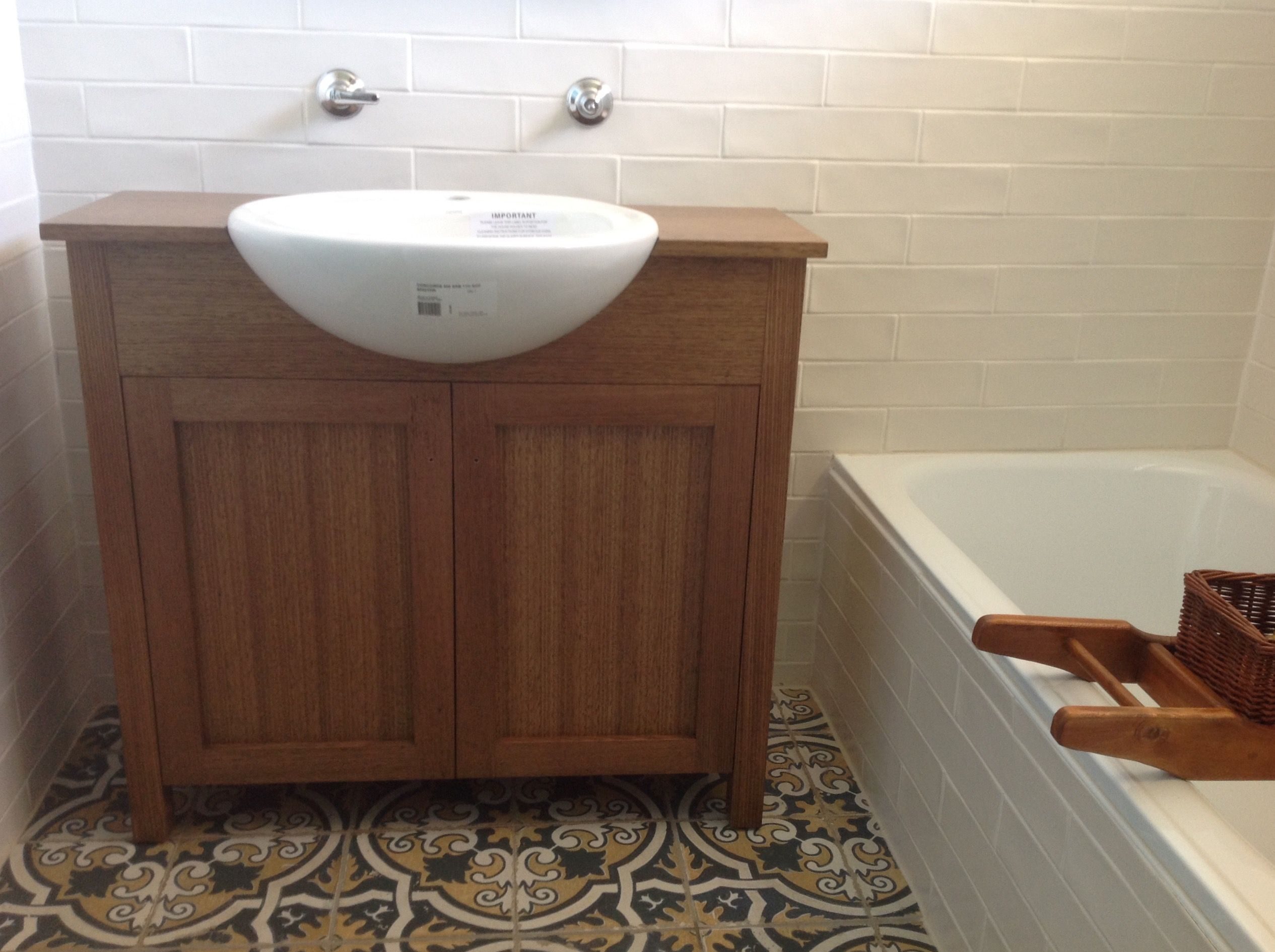 Solid timber custom built vanity cabinet for small bathroom in