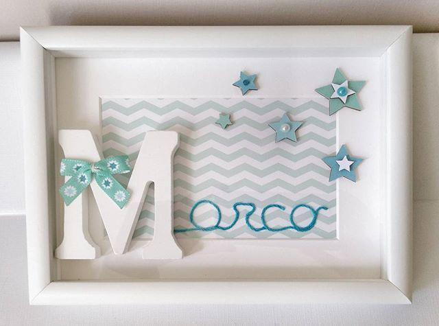 Consegnato anche il regalo per il piccolo Marco. Speriamo che alla mamma piaccia   #intrecciamo #quadrettipersonalizzati  #stelline
