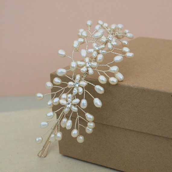 Items similar to Babies Breath Side Tiara, Floral Headpiece Ivory Pearl Bridal Headdress on Etsy