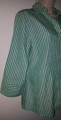 Women's Chicos button down blouse shirt top size 1 green white stripes cotton