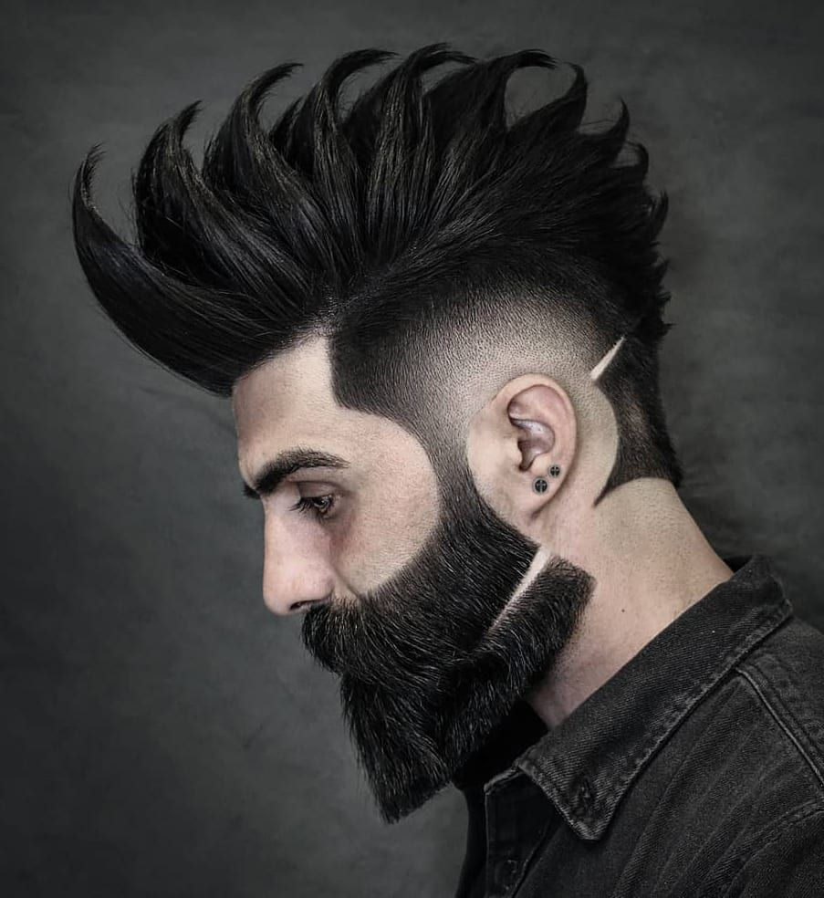Designer Beard And Thick Spikes Pattern Mens Hairstyles With Beard New Beard Style Beard Hairstyle