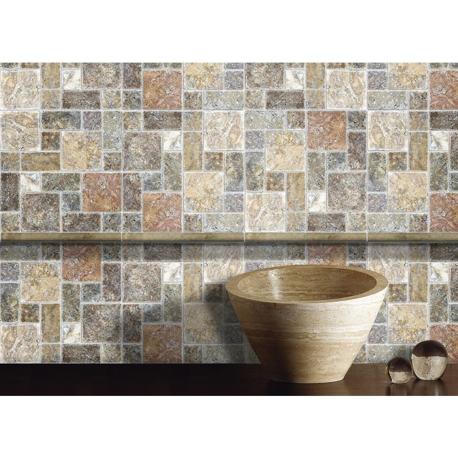 anatolia tile scabos mixed pattern mosaic travertine wall tile common 12 in x 12 in actual. Black Bedroom Furniture Sets. Home Design Ideas