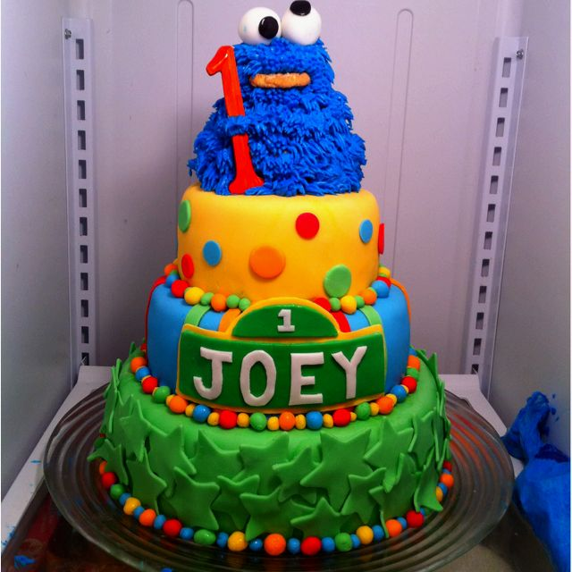 3 tier 1st birthday cake for a friends son He loves cookie monster