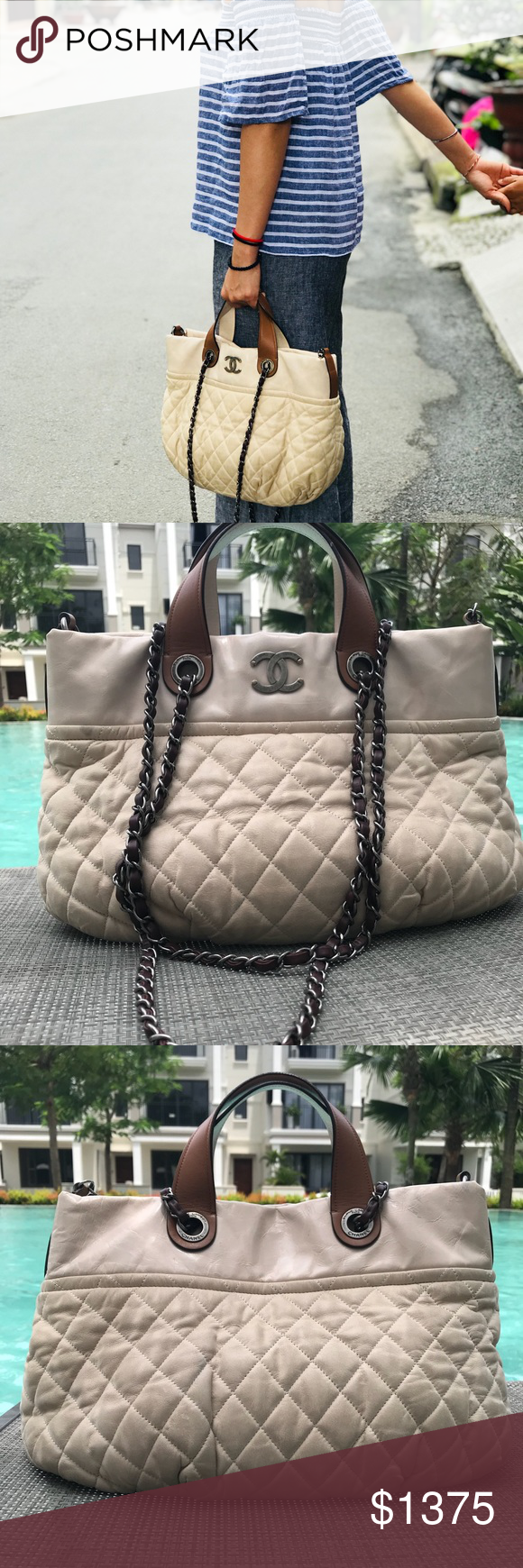819f32d1c4fc Authentic Chanel In The Mix Tote Beige 💯 authentic Chanel In the Mix Tote.  Measurements: 15