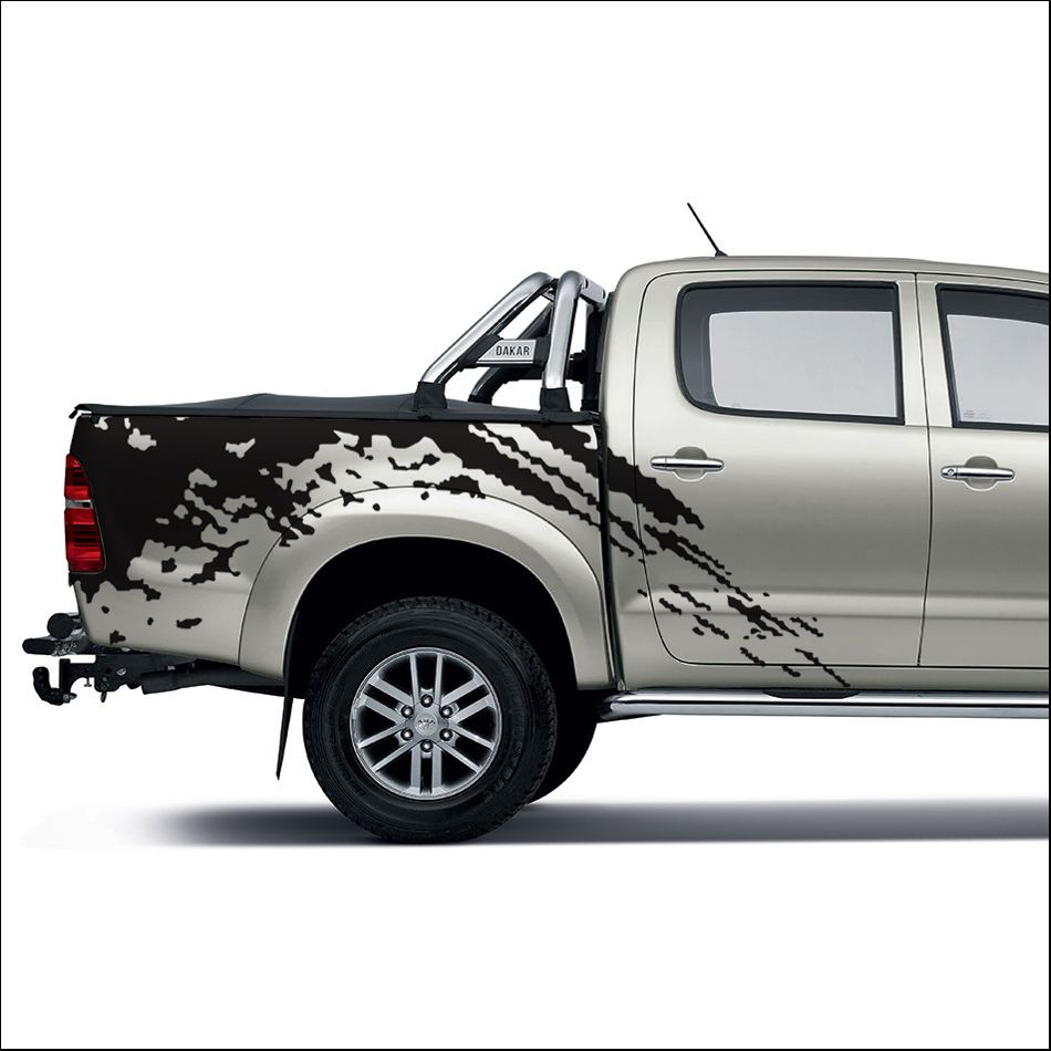 Free shipping 2pc mudslinger body rear tail side graphic vinyl for toyota hilux vigo 2011 2012