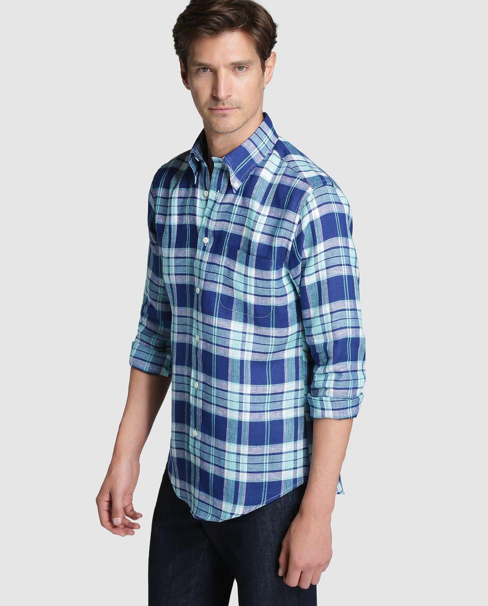 b92c6e826f Camisa Regent de hombre Brooks Brothers slim de cuadros azul · Brooks  Brothers · Moda ·