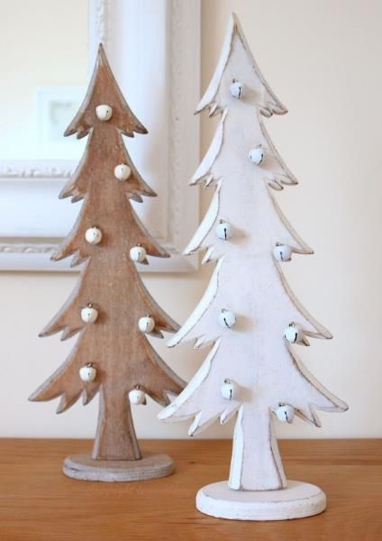 christmas tree decorations wooden christmas trees shabby distressed style in white natural wood with tiny bell baubles pair more - Wooden Christmas Tree Decorations
