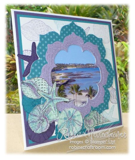 Frame made with Floral Frames framelits and By the Seashore. Thanks Robin!