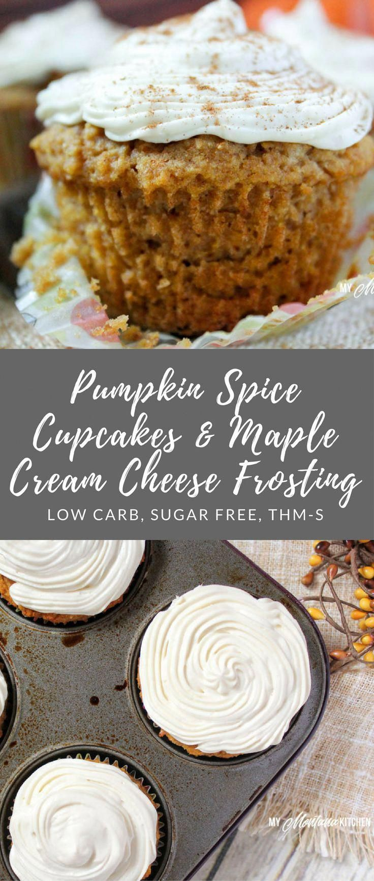 Pumpkin Spice Cupcakes with Maple Cream Cheese Frosting (Low Carb, Sugar Free, THM-S)
