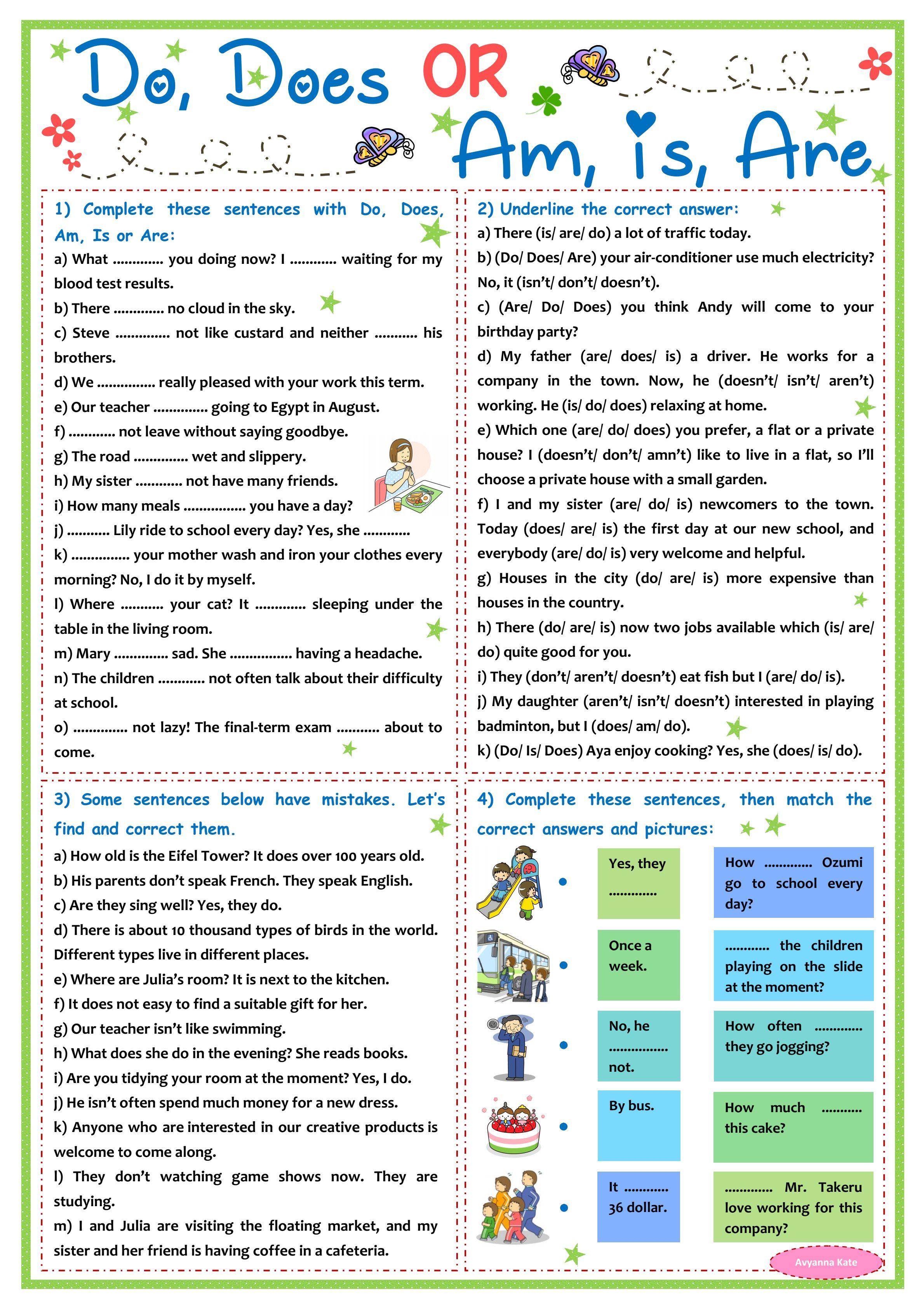 Auxiliary Verb Worksheet P10 In
