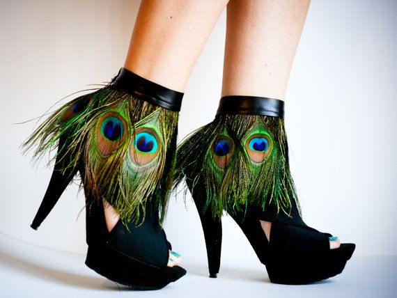 Peacock Feather Ankle Cuffs with band by jdotdesigns on Etsy, $59.00