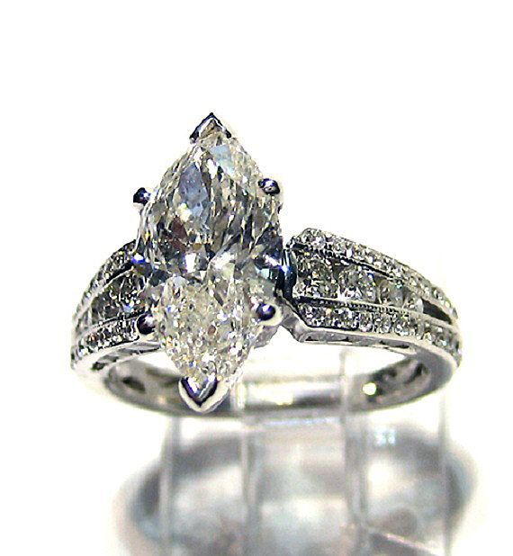 antique vintage marquise cut diamond engagement wedding ring 18 k - Marquise Wedding Ring