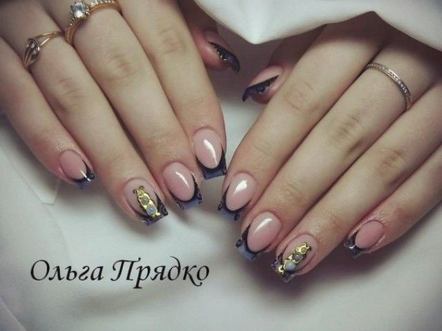 olga nail art fingernagel design schwarz mit gold nageldesign bilder by world nails nailart. Black Bedroom Furniture Sets. Home Design Ideas