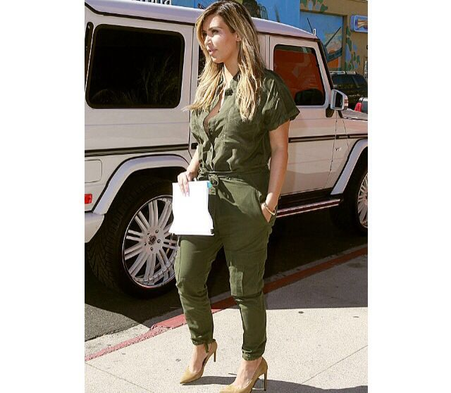 Cargo jumpsuit in army green