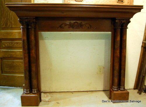 Antique Victorian Walnut Fireplace Mantel Columns Capitals Vintage ...