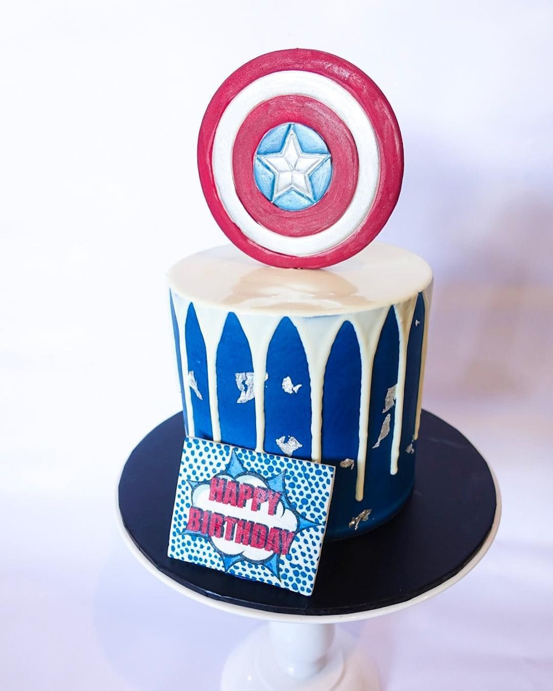 Captain America Drip Cake With Images Drip Cakes Birthday