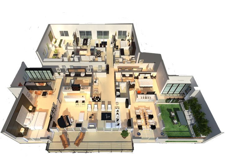 SkyGardensLuxury house plans3D floor plan