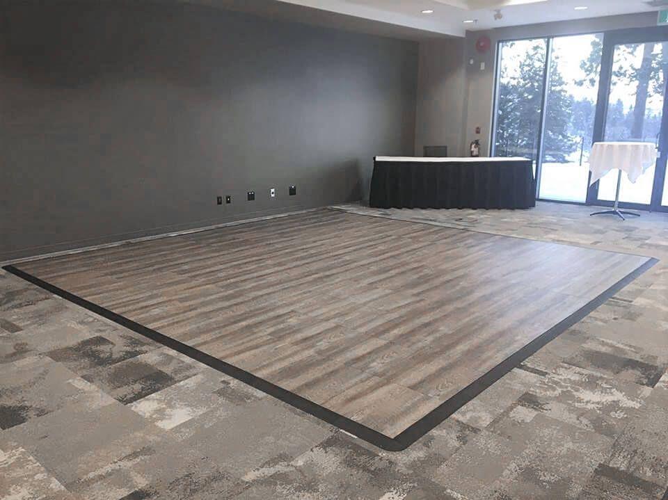 Smoked Oak 8 by 8 dance floor with edging | Basement