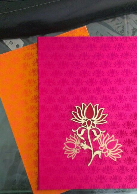 Lotus Theme Wedding Invitation In Fushcia Pink Innovative
