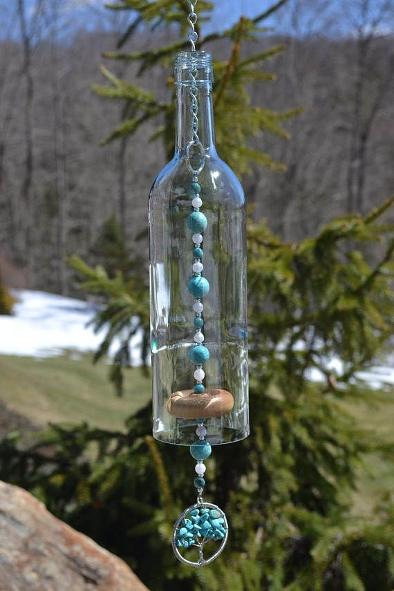 This wind chime is made from a clear wine bottle that i for Glass bottle wind chimes