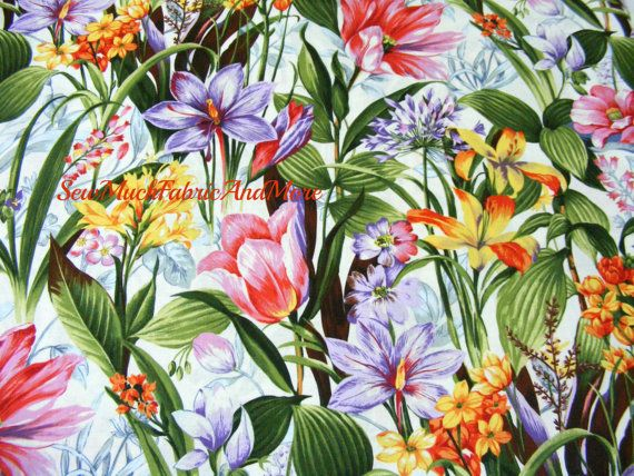 Botanical Society Floral  fabricby the by sewmuchfabricandmore