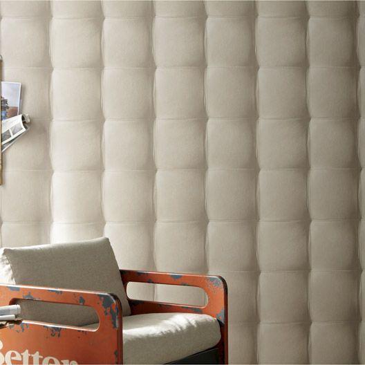 Papier Peint Vinyle Sur Intisse Capiton Cuir Blanc Larg 0 53 M Papier Peint Papier Peint Vinyle Papier Peint Blanc