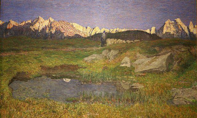 Giovanni Segantini, Alpenlandschaft bei Sonnenuntergang (Alpine landscape at sunset)