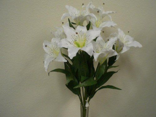 White large tiger lily 9 silk flowers bush bouquet artificial white large tiger lily 9 silk flowers bush bouquet artificial phoenix silk httpamazondpb0068sfhh4refcmswrpidp9ulzsb1r0rwaqm27 mightylinksfo