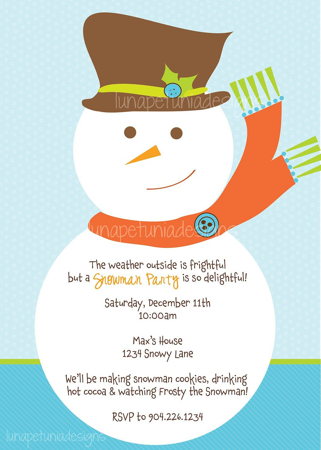 snowman party invitation any colors snow days pinterest
