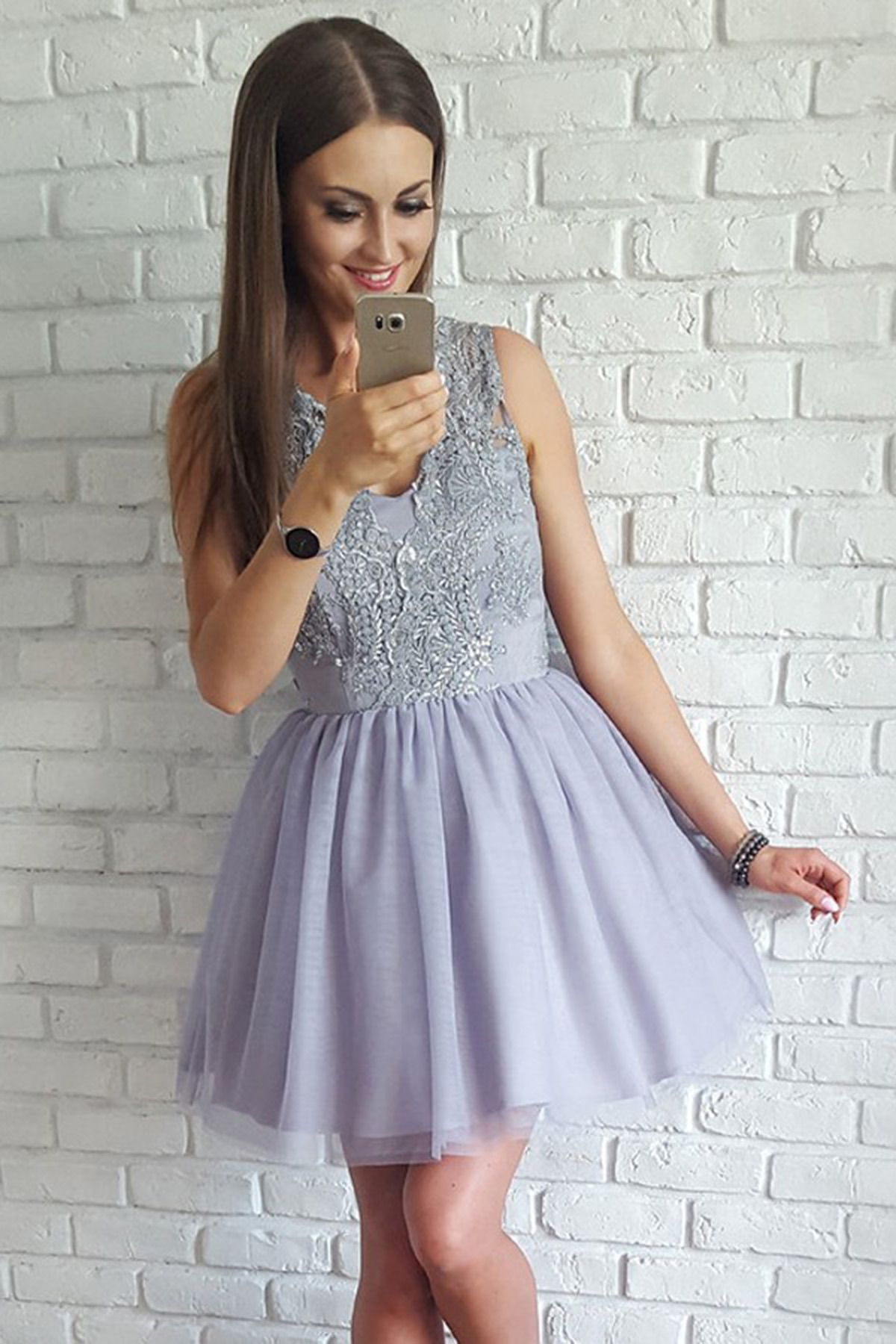 Cute blue gray lace tulle short prom dress homecoming dress cute