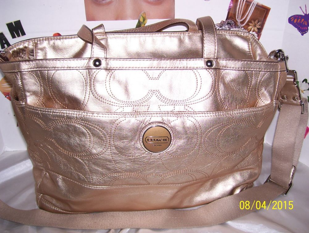Coach Rose Gold Metallic Leather Multi Function Baby