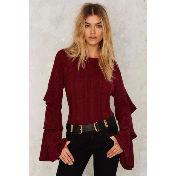 Road to Ruin Ruffled Sweater (263.745 COP) ❤ liked on Polyvore featuring tops, sweaters, red, ruffle top, ribbed sweater, red ruffle sweater, flutter-sleeve top and bell sleeve sweater